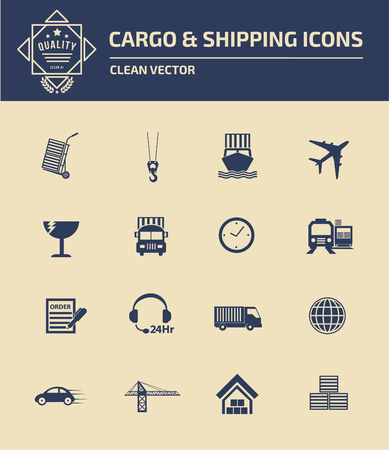 Cargo and shipping icon set design,clean vector