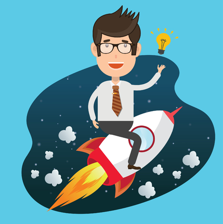 Businessman,rocket concept design,clean vector Illustration