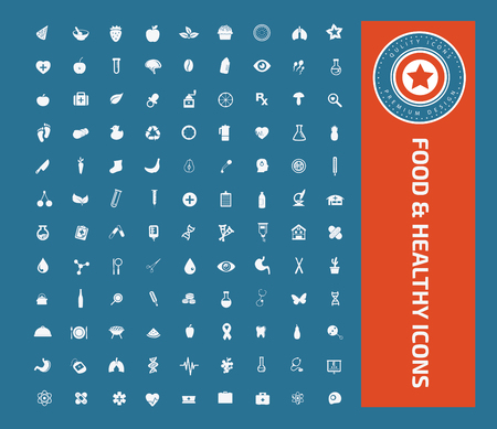 Food and health care icons concept design,clean vector