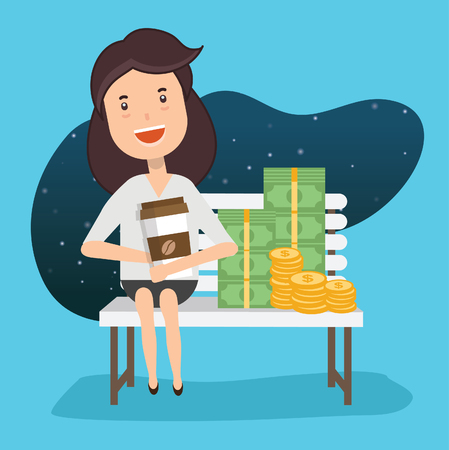 Businesswoman concept design,clean vector
