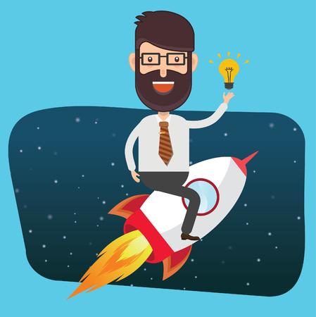 overworking: Businessman,rocket concept design,clean vector Illustration