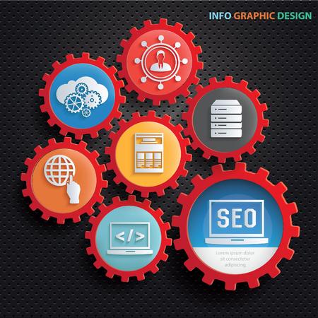 SEO development concept design,clean vector