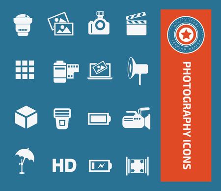 digicam: Photography icon set concept design,clean vector