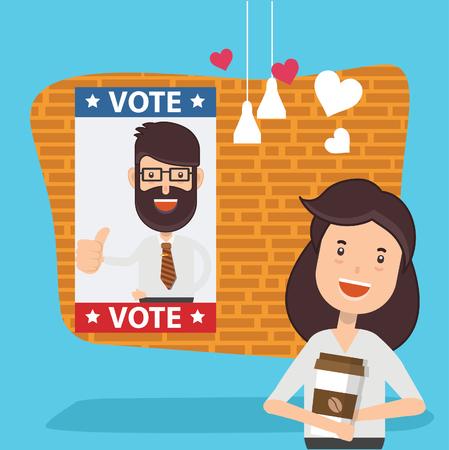 Woman,vote design,clean vector