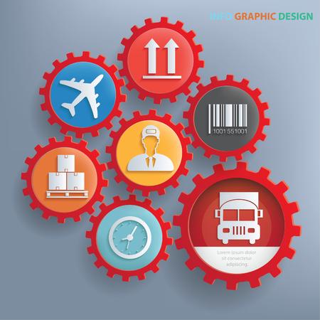 scale icon: Logistic info graphics design,clean vector Illustration