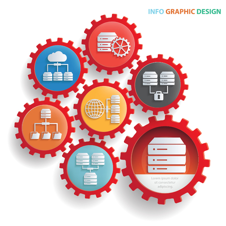 Database info graphics concept design,clean vector Illustration