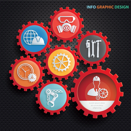 Engineer and industry info graphics concept design,clean vector