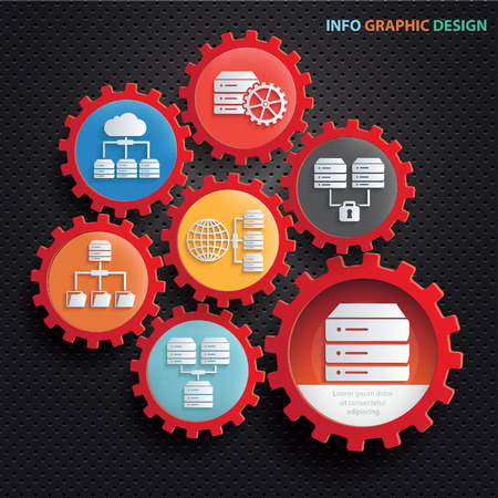 Database and network info graphics concept design,clean vector Illustration