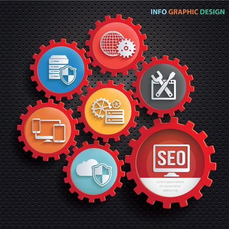 SEO development info graphics concept design,clean vector Vektorové ilustrace