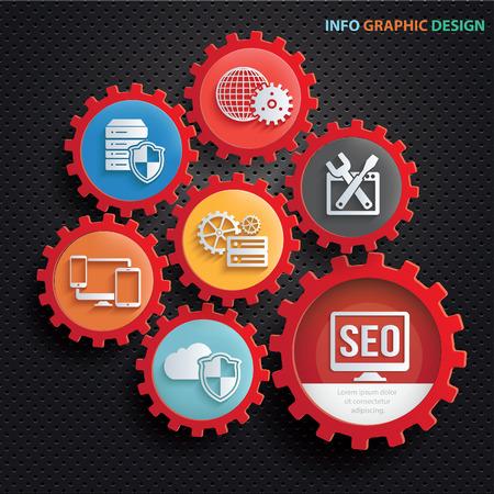 SEO-Entwicklungs-Informationsgraphik-Konzeptdesign, sauberer Vektor Vektorgrafik