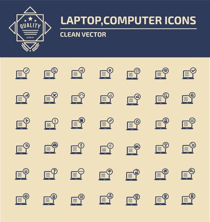 digitized: Laptop icon set concept design,clean vector
