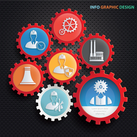 oil and gas industry: Engineer and industry icon set design,clean vector