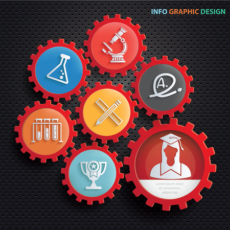 open notebook: Education info graphics design,clean vector Illustration