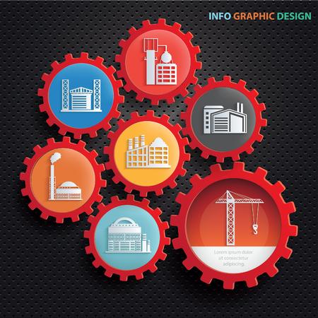 Industrie Info-Grafik-Design, sauberer Vektor
