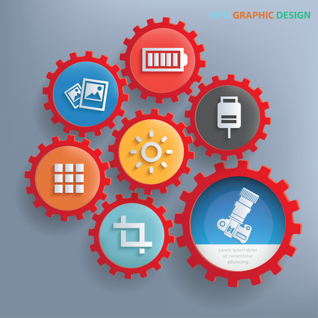 sync: Camera info graphics design,clean vector Illustration