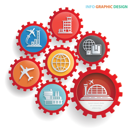 Airport and cargo info graphics design,clean vector