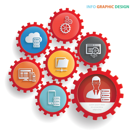 Admin and developer info graphics design,clean vector Illustration