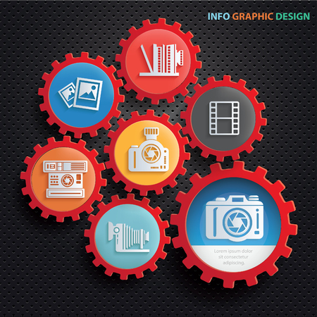 Camera info graphics design,clean vector Illustration