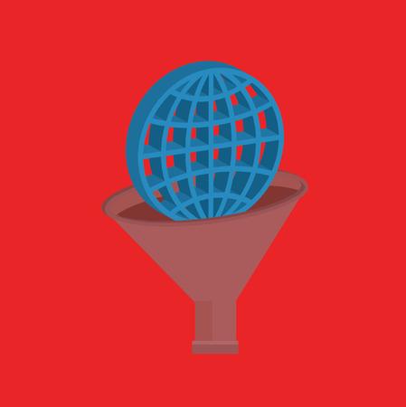 Global funnel design,clean vector