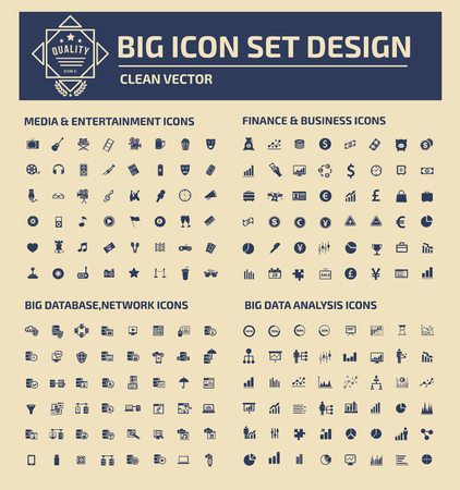 consumer society: Big icon set design,clean vector