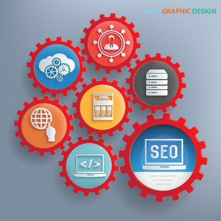 configuration: SEO development info graphics design,clean vector