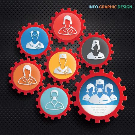trainee: Doctor info graphics design,clean vector Illustration