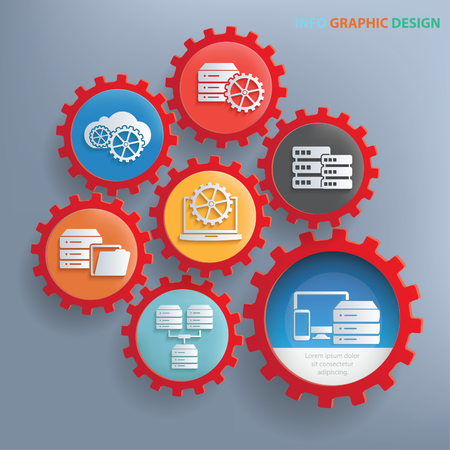 communications tools: Database info graphics design,clean vector