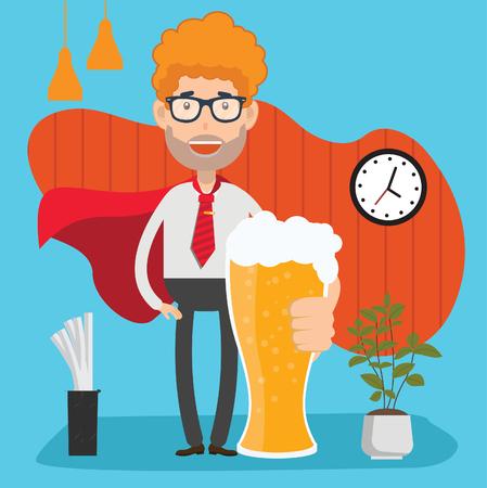 Businessman,beer design,clean vector