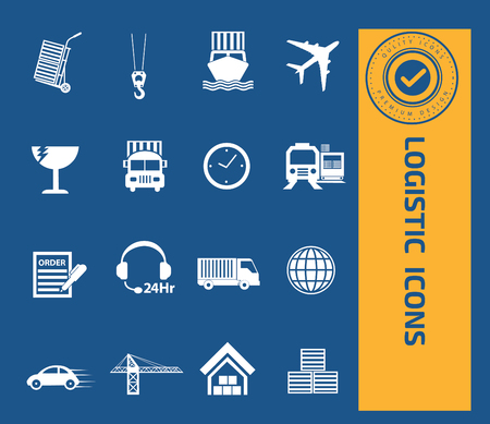 validated: Logistic icon set design,clean vector