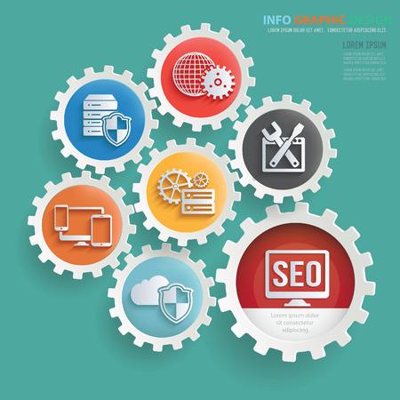 SEO ontwikkeling info grafisch ontwerp, duidelijke vector