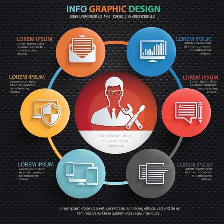 Admin,developer info graphics design,clean vector