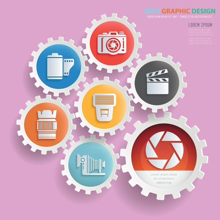 Photography info graphics design,clean vector Illustration