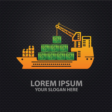 Container ship design,clean vector Illustration