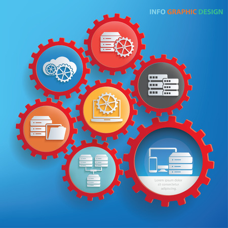 disco duro: Diseño de gráficos de información de base de datos, vector limpio