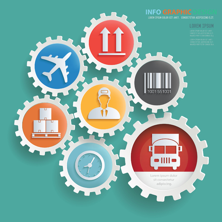 Cargo,shipping info graphics design,clean vector Illustration