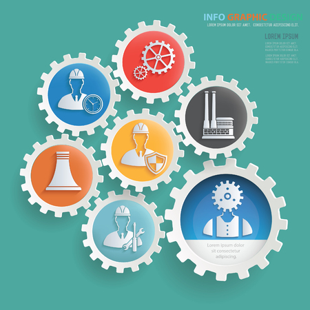 Engineer and industry info graphics design,clean vector