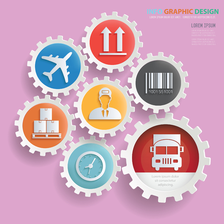 Logistic,cargo info graphics design,clean vector Illustration