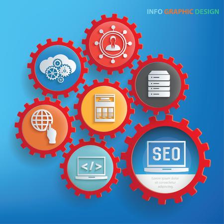 SEO info graphic design,clean vector