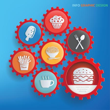 Aliments et boissons Info conception graphique, vecteur propre