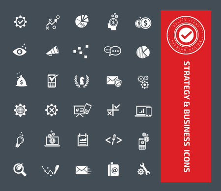 Strategy and business icon set design,clean vector