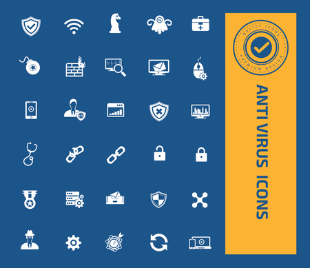 emanate: Anti virus icon set design,clean vector