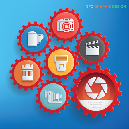Photography info graphic design,clean vector Illustration
