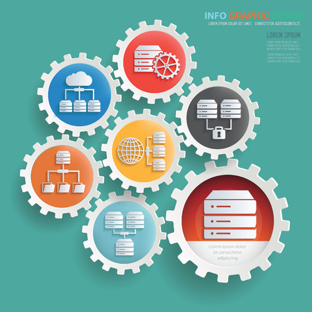 Database and network design,clean vector Illustration