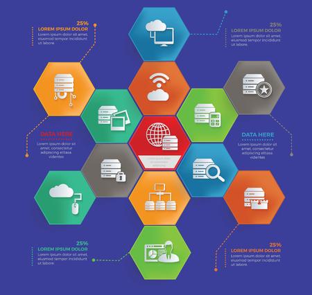 Big data and database info graphic concept design Çizim