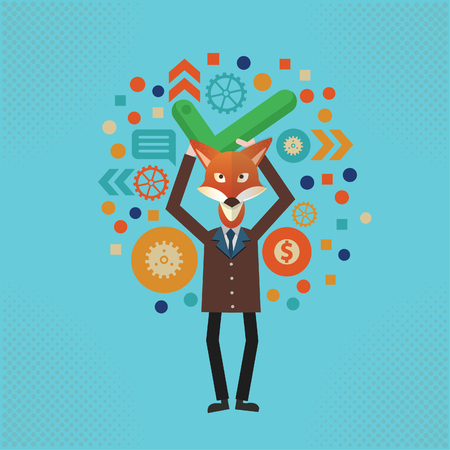 Fox businessman design,vector Illustration