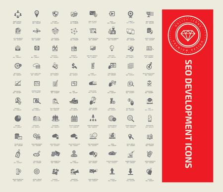 SEO development icon set design,vector 向量圖像