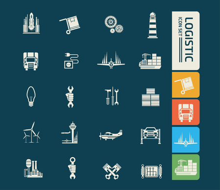 Logistic vector icon set Illustration
