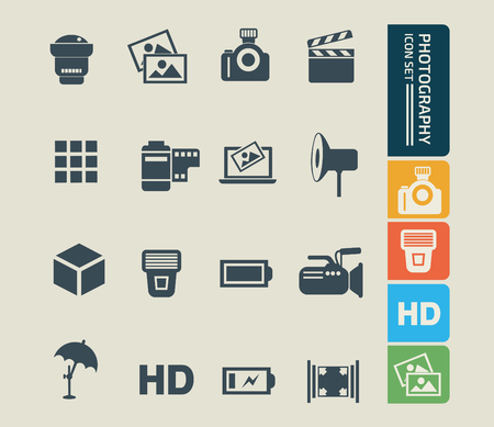 Photography icon set vector concept design