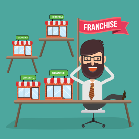 Franchise store with businessman vector design illustration.