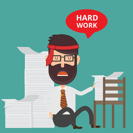Hardworking cartoon man image illustration Illustration